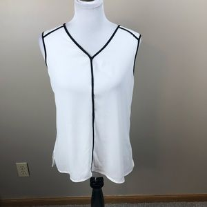 Halogen White Sheer Top With Black Trim Blouse